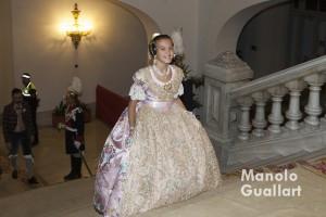 Sofía Soler, Fallera Mayor Infantil de Valencia 2016 entrando en el ayuntamiento para su nombramiento. Foto de Manolo Guallart.