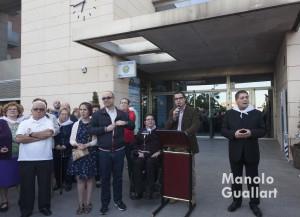 El alcalde de Bonrepós i Mirambell, Rubén Rodríguez, en el acto de bienvenida a la Virgen de los Desamparados. Foto de Manolo Guallart.
