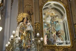 La imagen de la Virgen de los Desamparados de Valencia en la parroquia de la Virgen del Pilar en Bonrepós i MIrambell. Foto de Manolo Guallart.