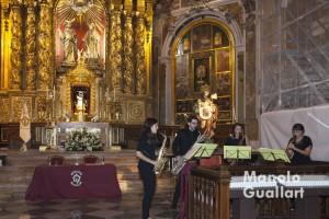 """Cuarteto de saxofones """"Enllasax"""" en su actuación. Foto de Manolo Guallart."""