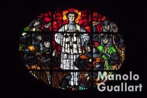 Vidriera de los Sagrados Corporales en la parroquia de la Asunción (Daroca). Foto de Manolo Guallart.