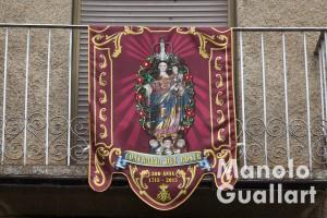 Tapiz conmemorativo del 300º aniversario de la cofradía del Roser en Borbotó. Foto de Manolo Guallart.