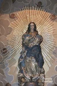 Imagen de la parroquia del Rosario en Cañamelar (madera), obra de Vicente Beltrán. Foto de Manolo Guallart.