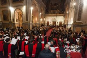 Aspecto de la iglesia de La Compañía (Jesuitas) en el concierto de Navidad del Coro universitario Sant Yago. Foto de Manolo Guallart.