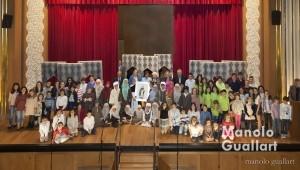 Niños participantes en el concurso durante la entrega de premios en el Ateneo Mercantil. Foto de Manolo Guallart.