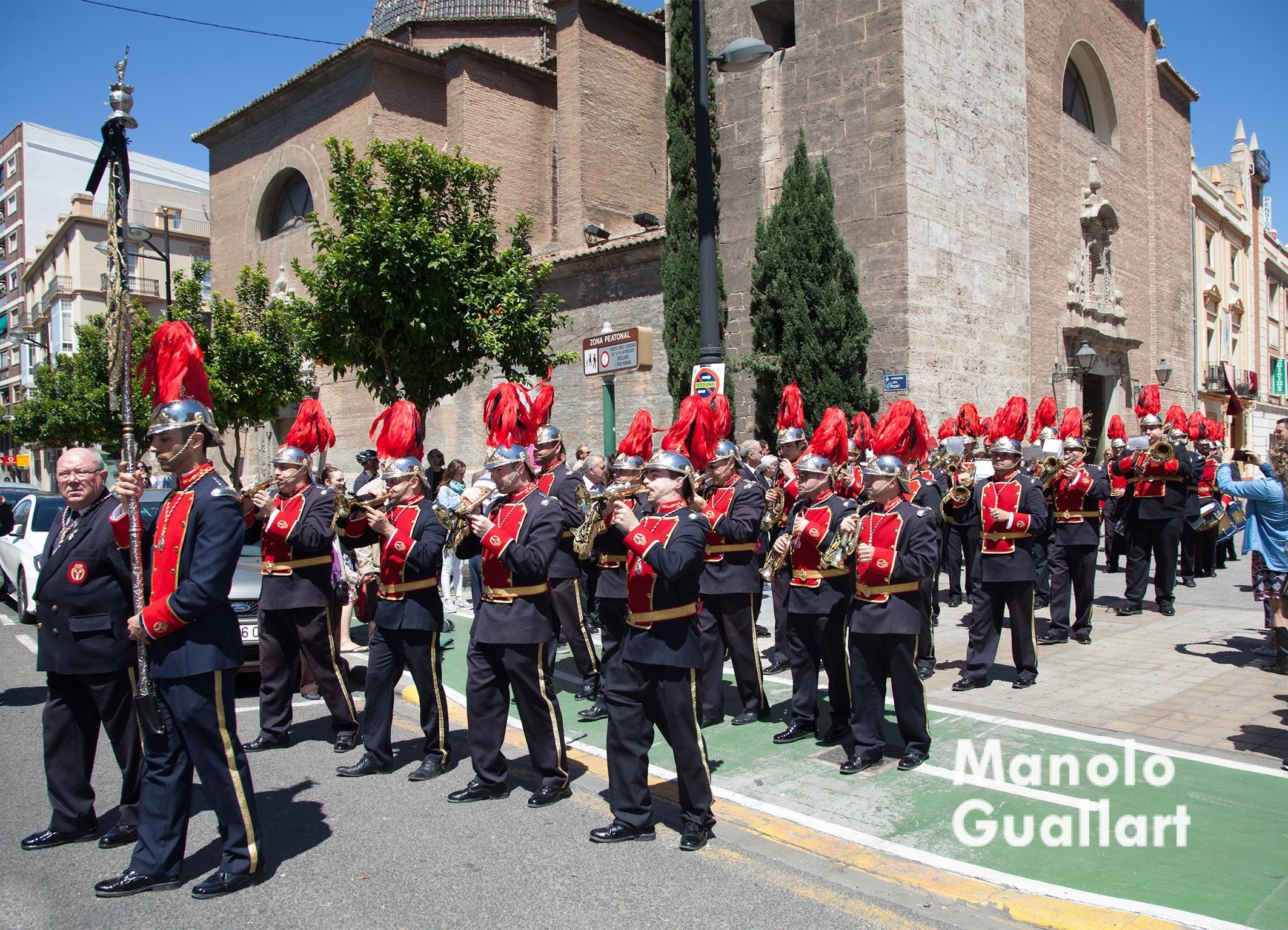 La Banda de Cornetas y Tampores San Luis Beltrán en la Llegada del Cristo del Grao. Foto de Manolo Guallart.