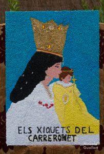 Tapiz de papel en honor a la Virgen. Foto de Manolo Guallart.
