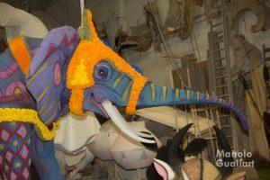 Detalle de la carroza de Ximo Esteve (el elefante mueve la trompa). Foto de Manolo Guallart.