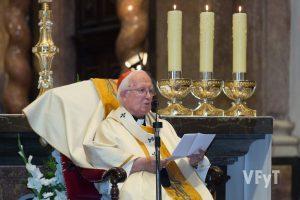 El cardenal Cañizares en su homilía sobre la Asunción de María. Foto de Manolo Guallart.