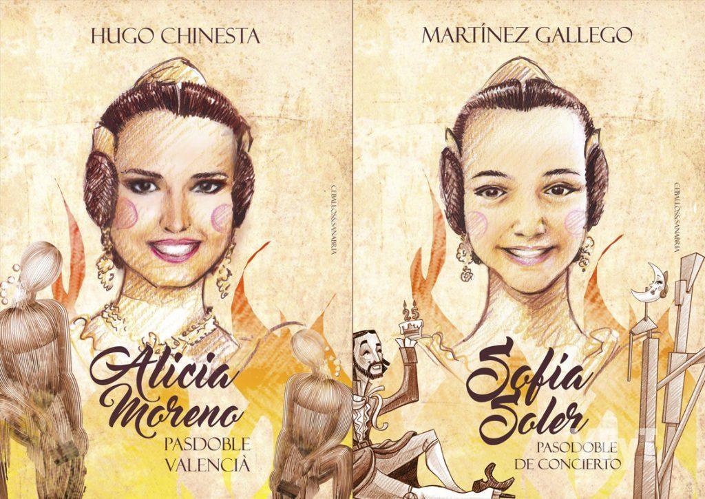 """Carteles de los pasobles de """"Alicia Moreno"""" y """"Sofía Soler"""", de Ceballos&Sanabria. (Fuente JCF)"""