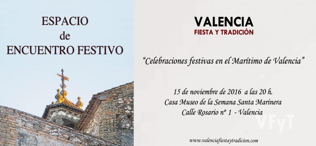 Espacio de Encuentro Festivo, coloquio promovido por Valencia, Fiesta y Tradición. Cartel obra del artista Pedro Molero.