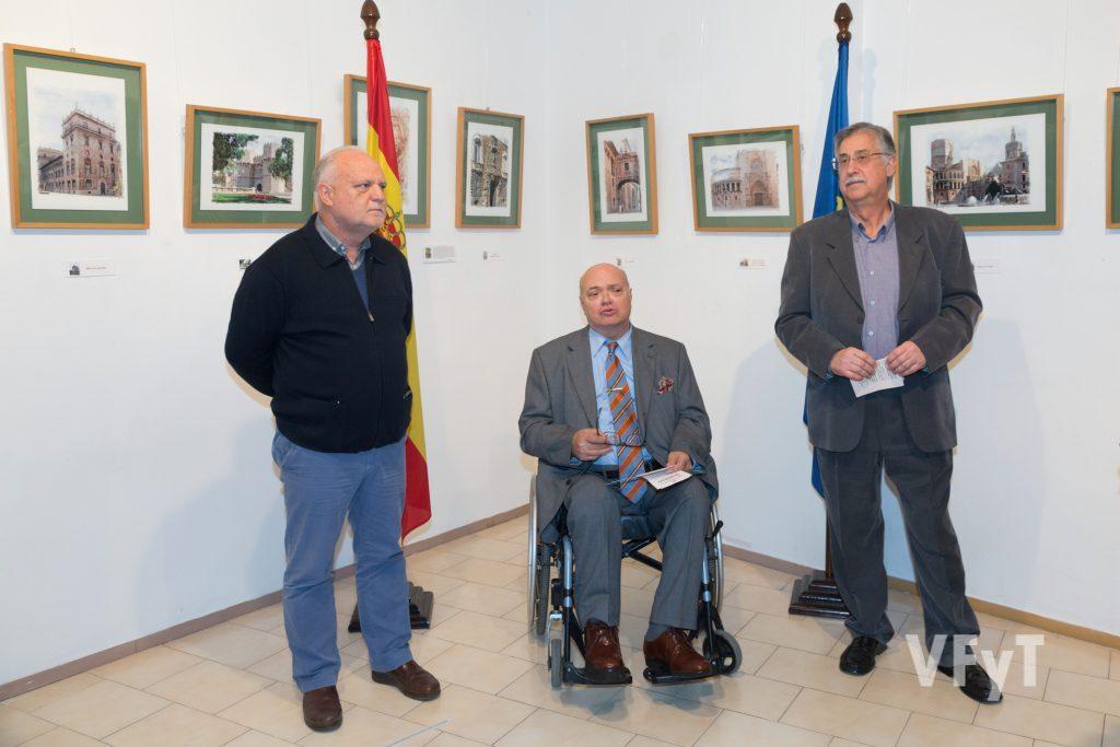 Rafael Solaz (izda), José Luis Lliso y Pedro Molero en la inauguración. Foto de Manolo Guallart.