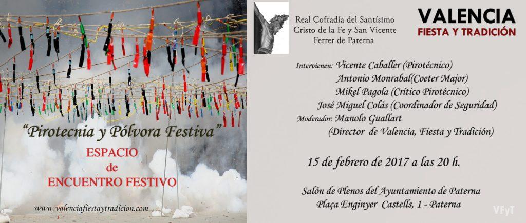 Pirotecnia y pólvora festiva, coloquio en Paterna.