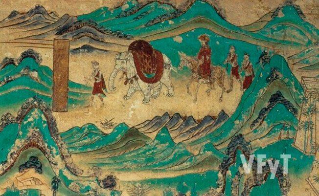 Ilustración al sutra del Loto. Xuan Zhang y el elefante blanco. Gruta 103 Mogao (Dunguang) Pintura mural. © Creative Commons. Esta obra ha sido identificada como libre de las restricciones conocidas en virtud del derecho de autor, incluyendo todos los derechos conexos.