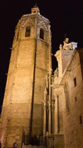 La torre del Micalet de la catedral de Valencia en la ruta 'Mitos y leyendas a la luna de Valencia'.