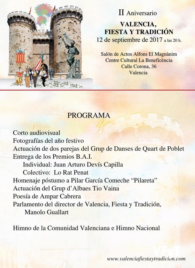 programa oficial del II aniversario de Valencia, Fiesta y Tradición