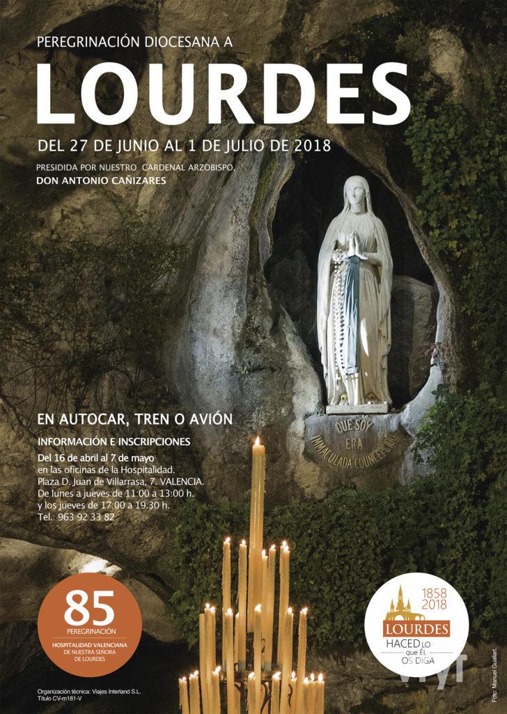 Cartel oficial de la Peregrinación a Lourdes 2018 de la Hospitalidad Valenciana. Foto de Manolo Guallart.