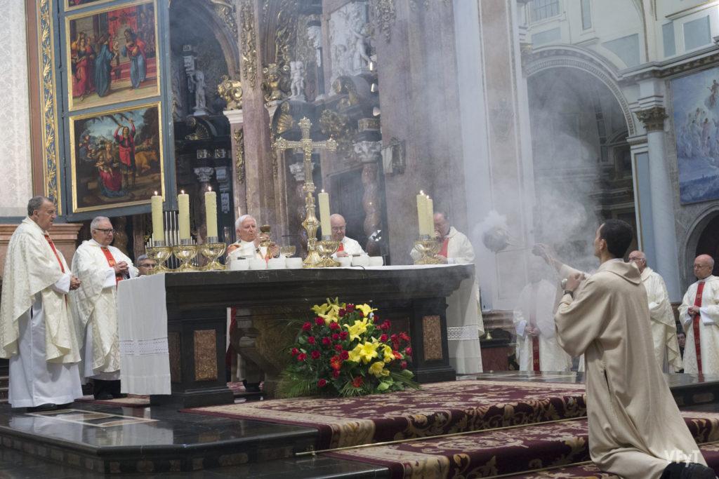 Misa de pontifical en la Catedral de Valencia por la solemnidad del Corpus Christi de 2018. Foto: Manolo Guallart.