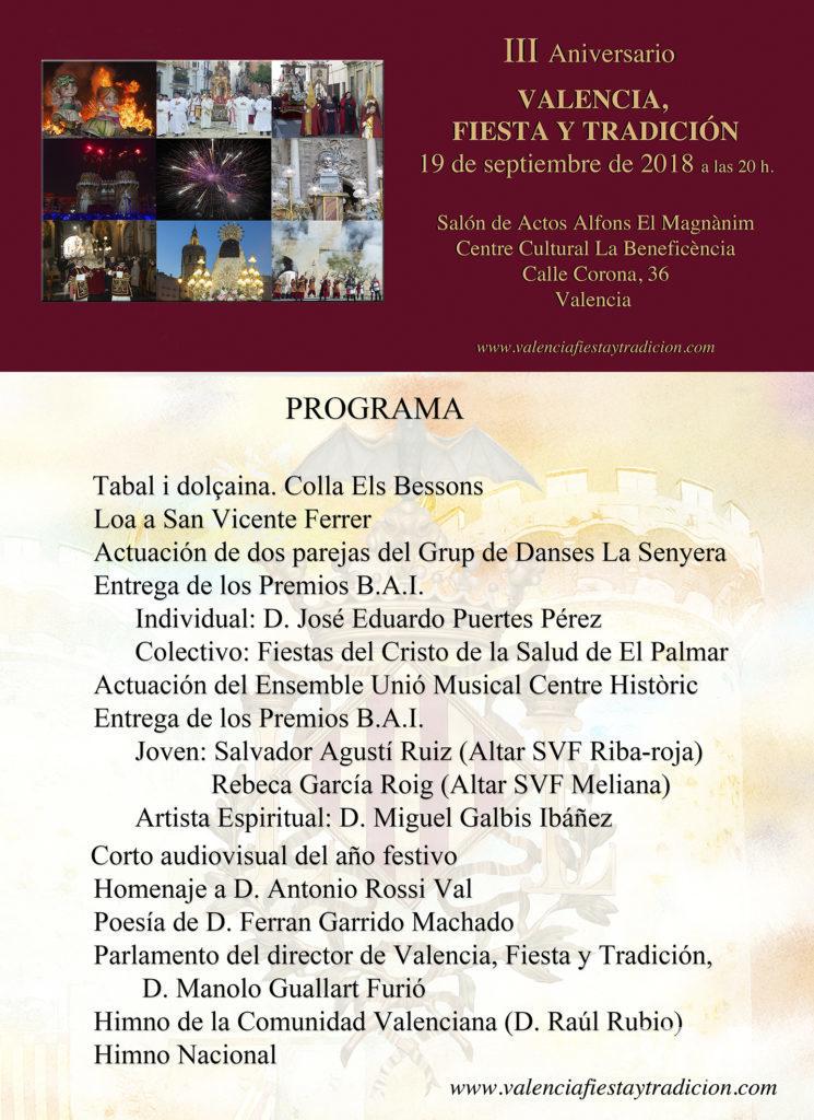 Programa III Aniversario de Valencia, Fiesta y Tradición